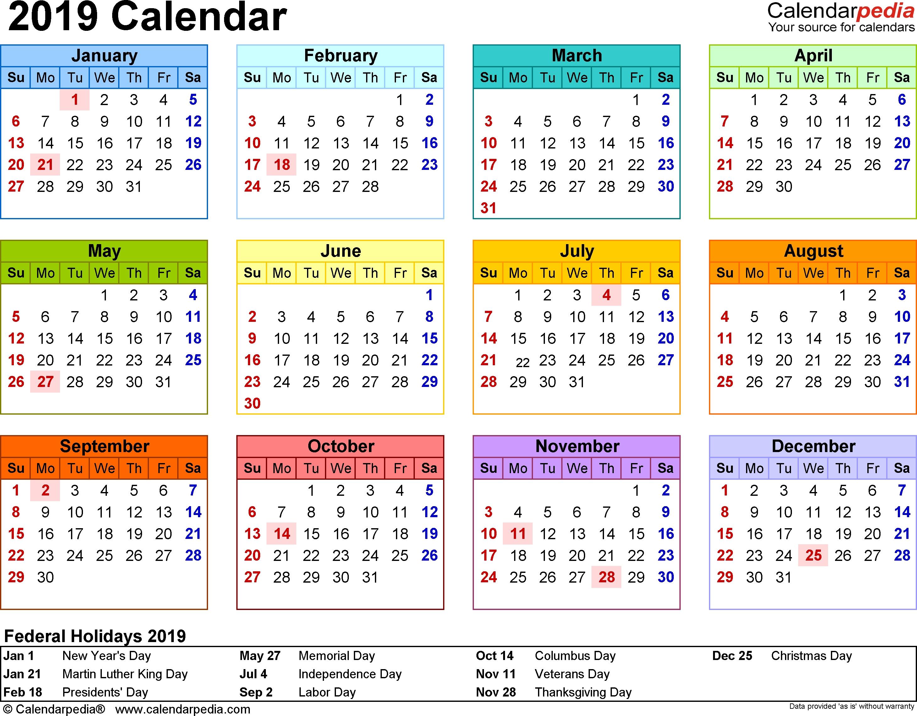 2019 Calendar Pdf - 17 Free Printable Calendar Templates within Blank Year At A Glance Calendar Template