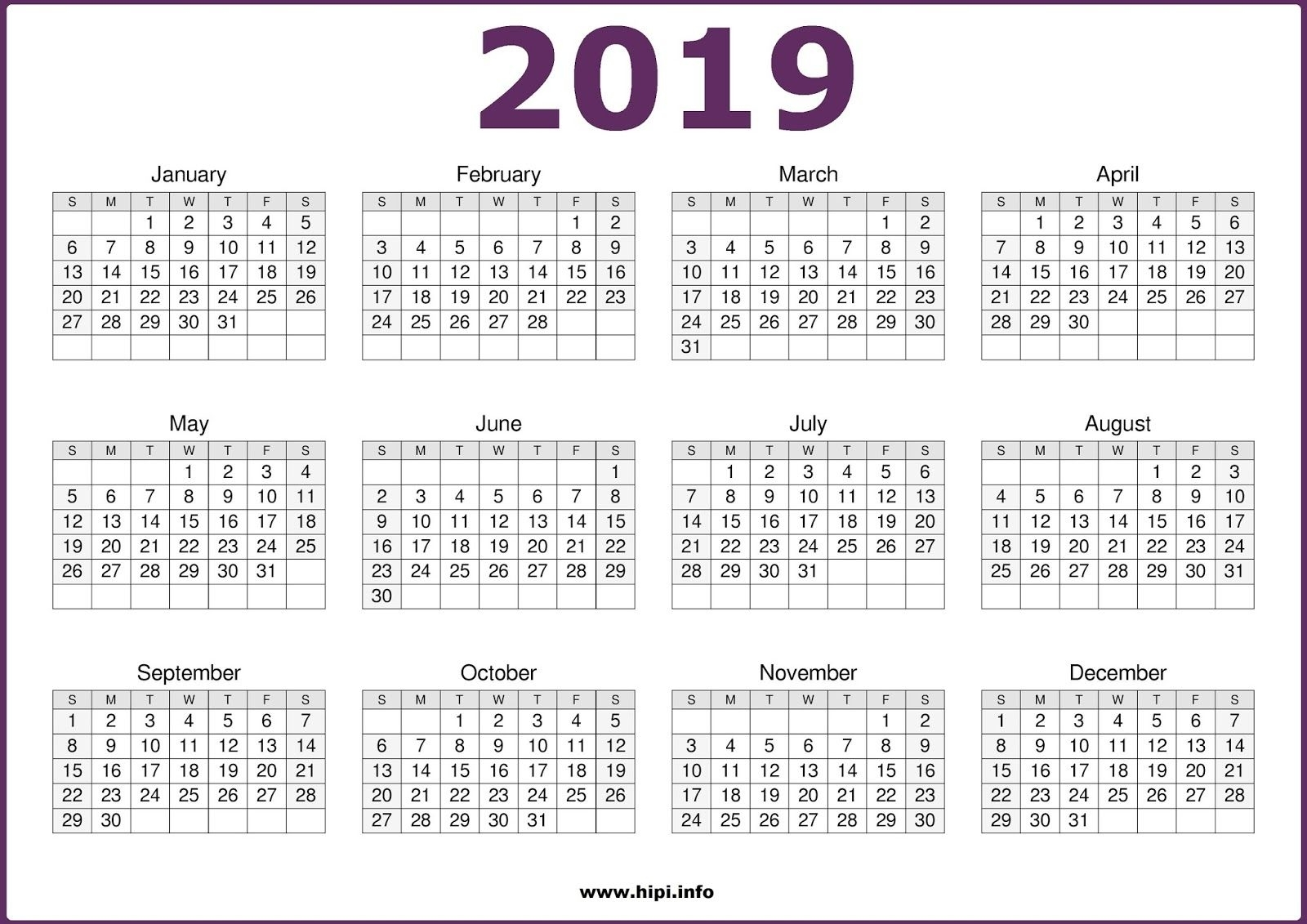 2019 Calendar Printable | 2019 Printable Calendars | Calendar 2019 for 12 Month Calendar With Lines
