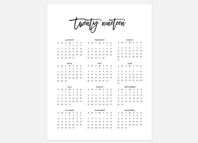 2019 Calendar Simple Calendar 2019 Year Calendar 2019 | Etsy for Year At A Glance Printable Calendars