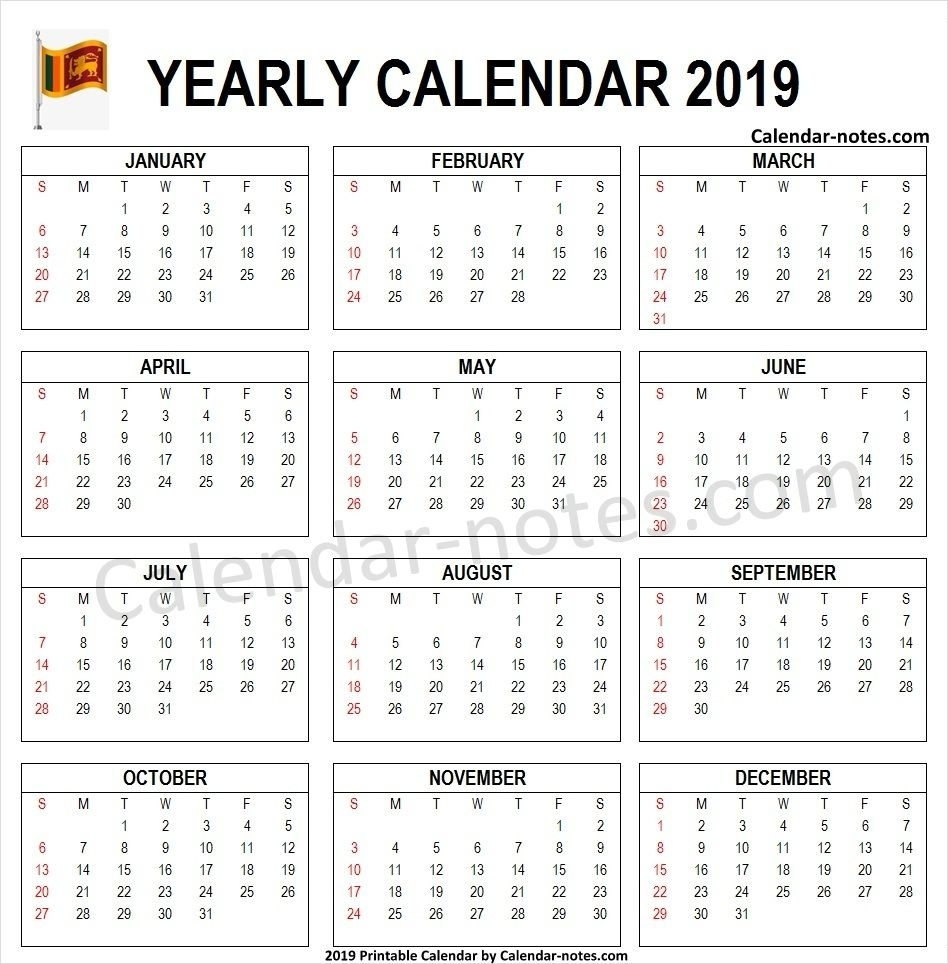 2019 Calendar Sri Lanka Pdf | Sri Lanka Calendar 2019 | 2019 with Sri Lanka Calendar Of September With Holidays