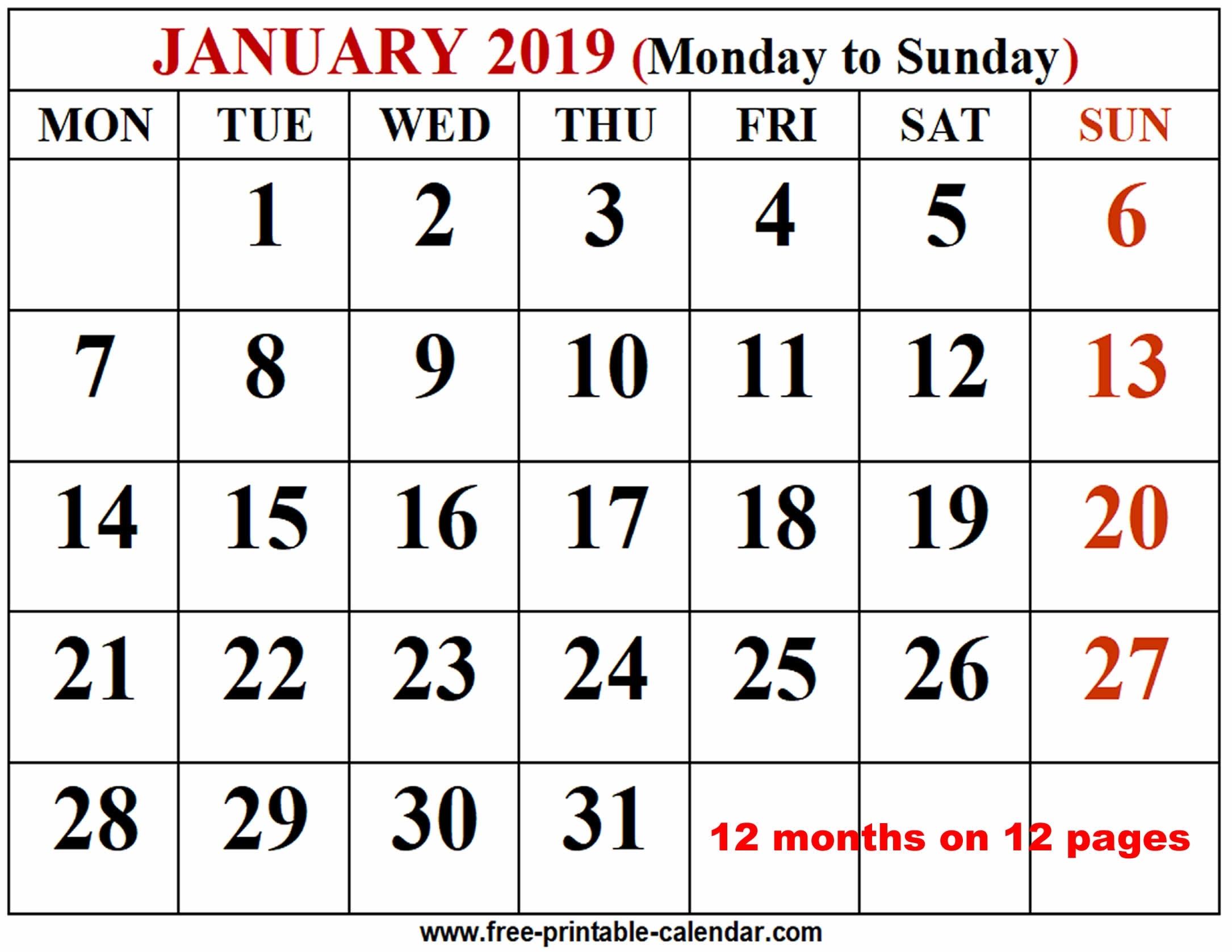 2019 Calendar Template - Free-Printable-Calendar for Free Printable 12 Month Blank Calendar