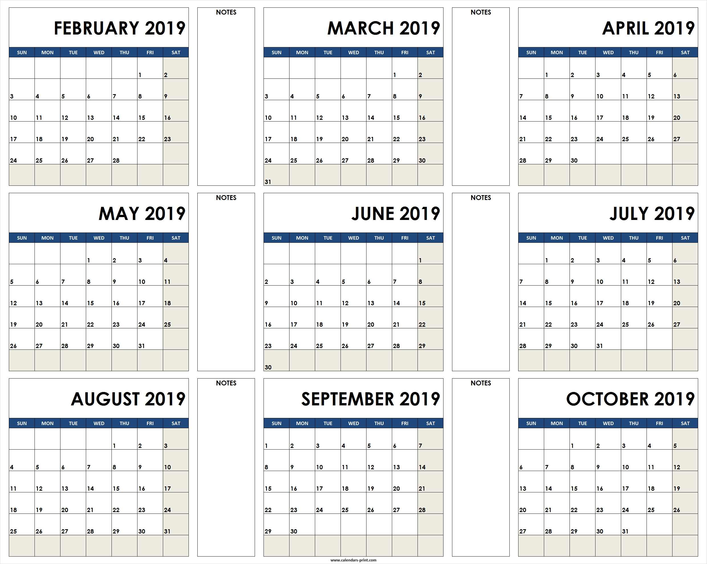 2019 Calendar To Print Free | Blank Calendar 2019 Template Printable within 12 Month Calendar Print Out