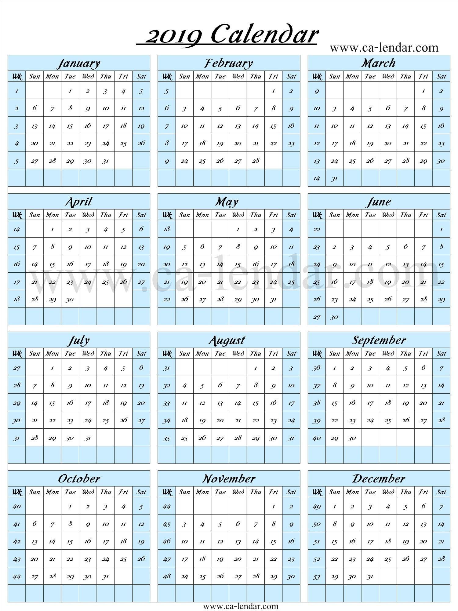 2019 Calendar With Week Numbers | 2019 Calendar Template | Calendar throughout Calendar By Week With Printable