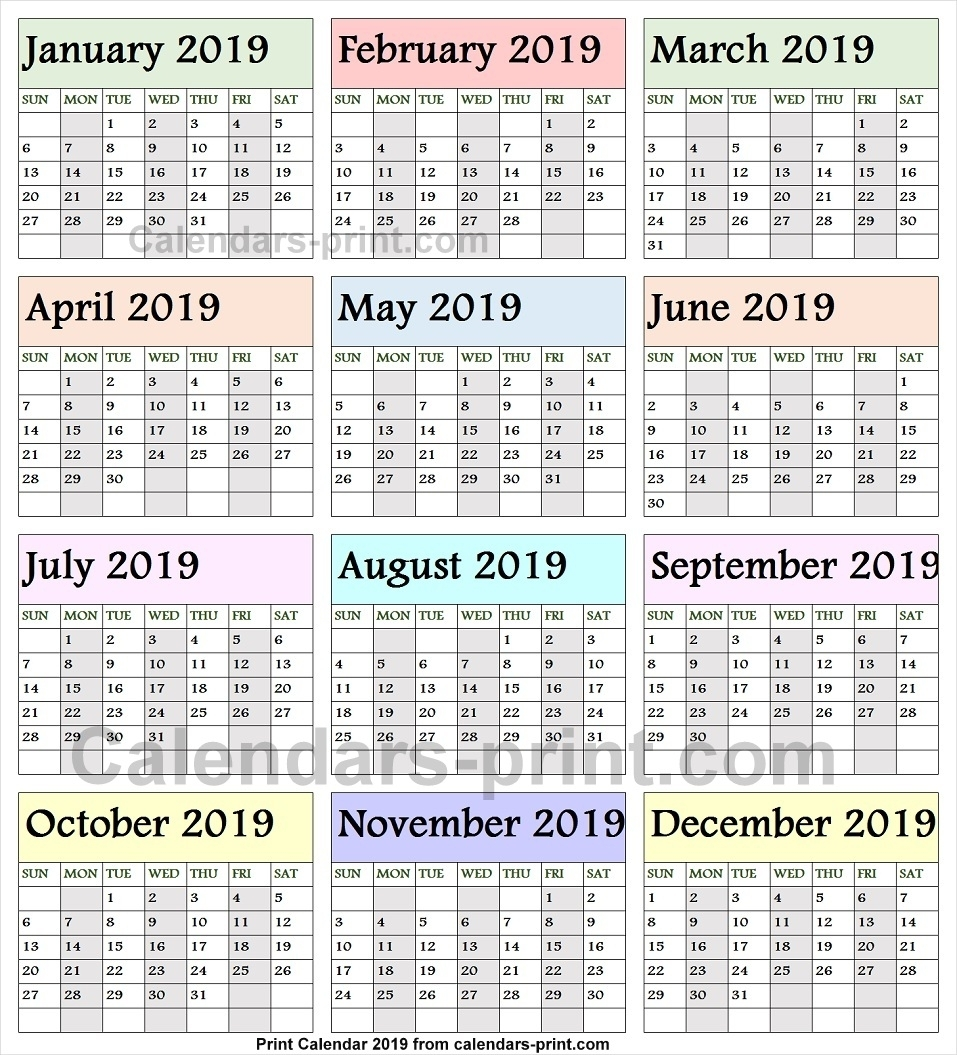 2019 Calendarmonth To Print Free | Download Blank Pdf Template within 12 Month Calendar To Print