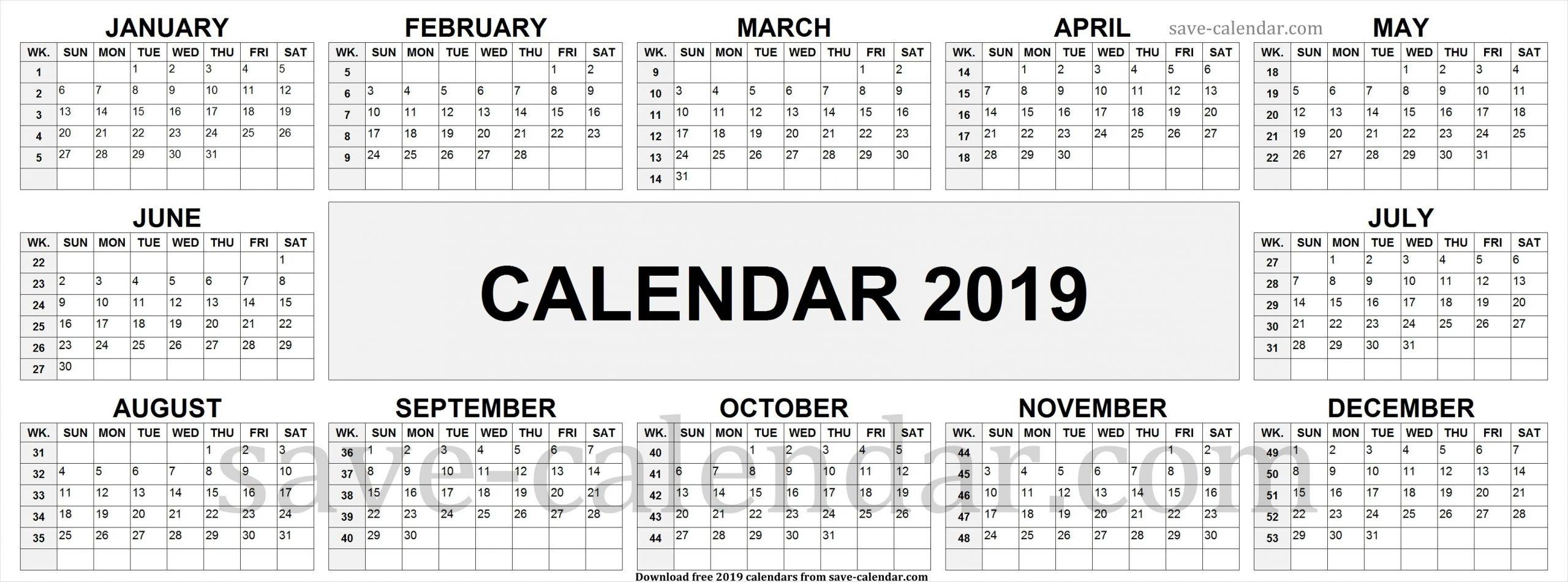 2019 Calendarweek Numbers   Calendar 2019 With Week Numbers inside Number Of The Week Template