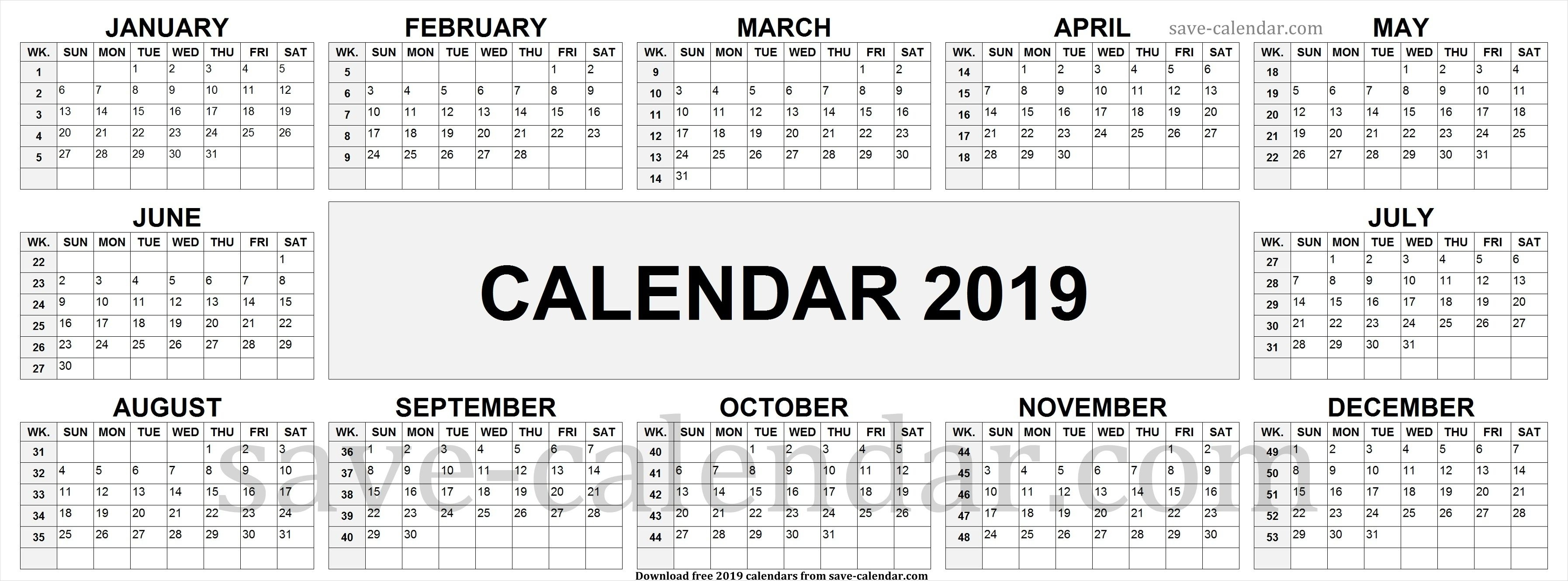 2019 Calendarweek Numbers | Calendar 2019 With Week Numbers inside Number Of The Week Template