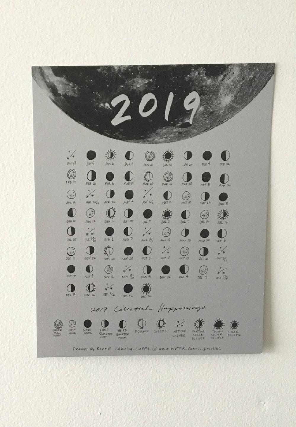 "2019 Celestial Calendar- 8 X 10"" Silver Print — Rivtak inside 8 X 10 Print Calendar"