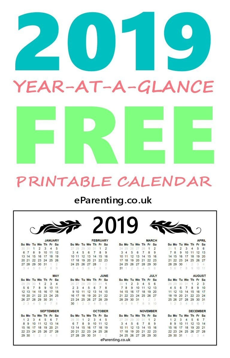2019 Free Printable Calendar | Free Printables | Free Printable for Year In A Glance Calendar