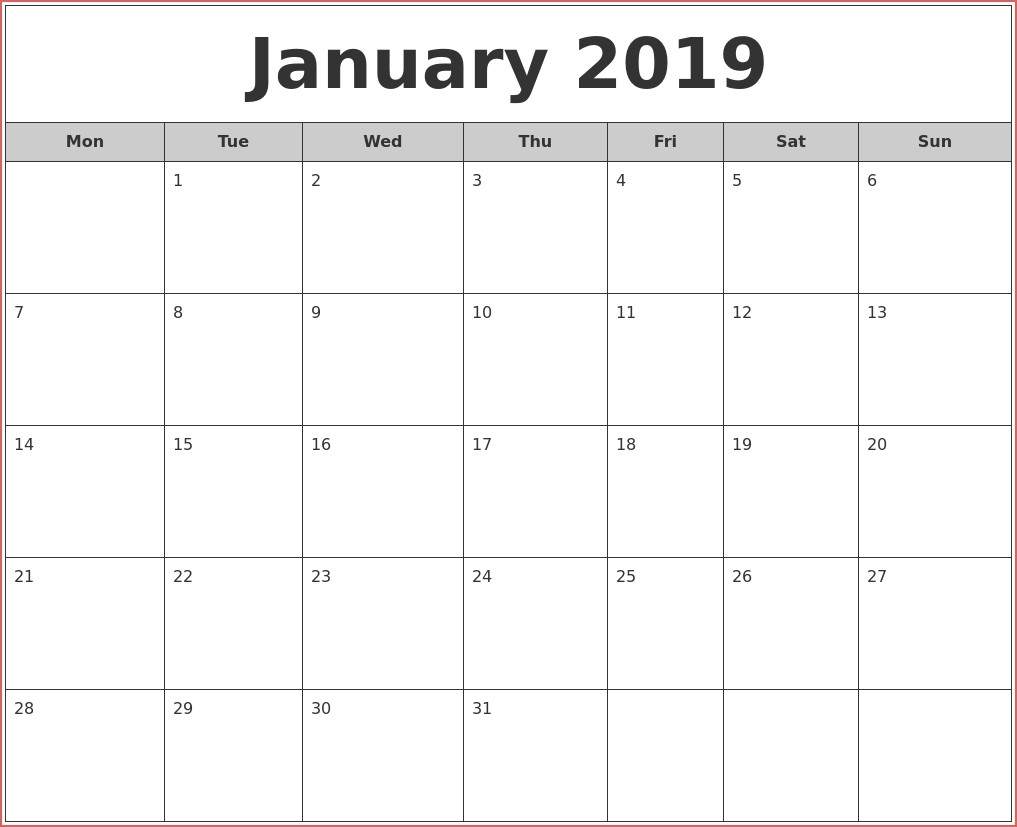 2019 Free Printable Monthly Calendars January 2019 Free Monthly throughout Full Size Printable Monthly Calendars