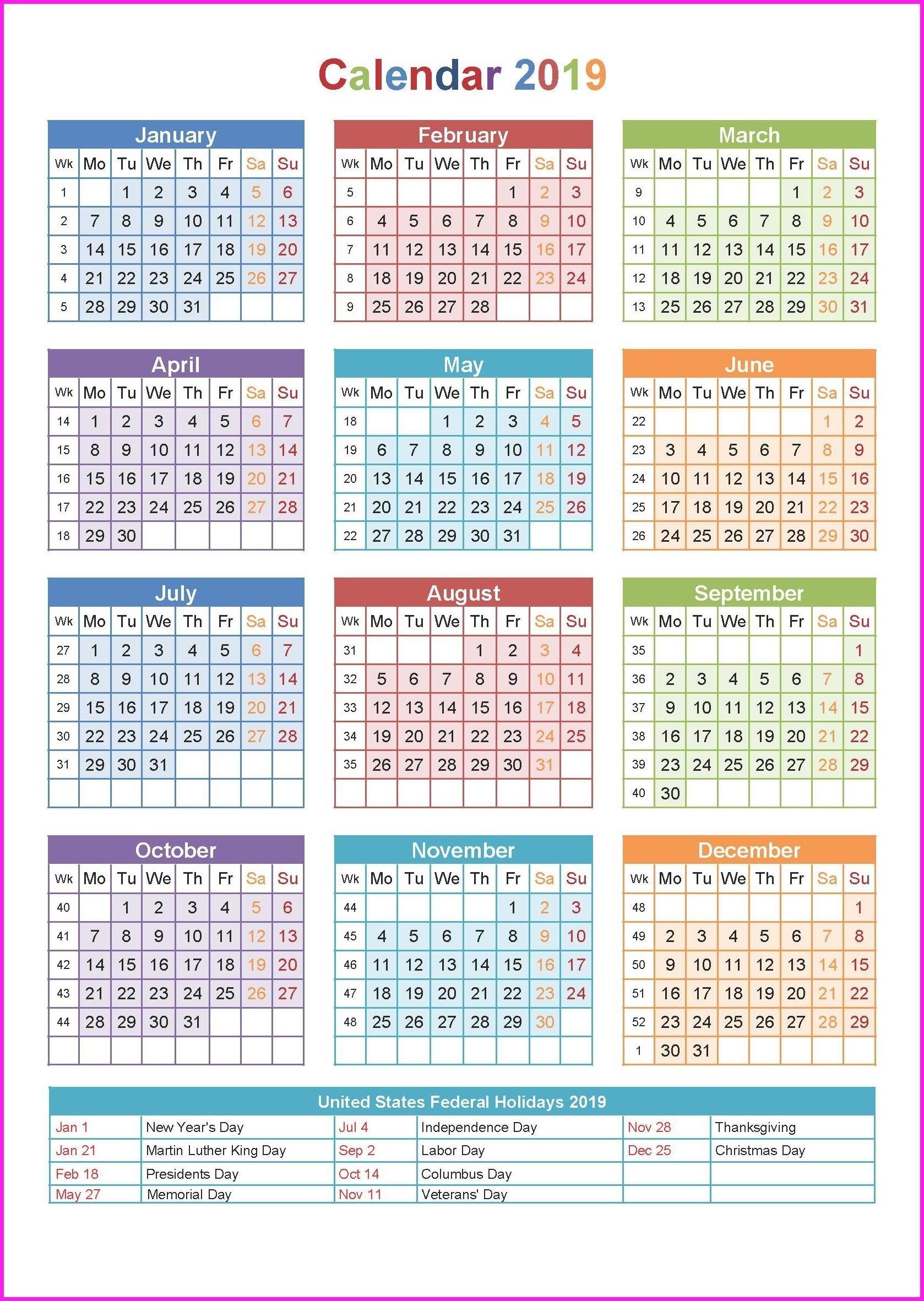 2019 Holiday Calendar Usa #calendar2019 #printablecalendar with regard to 1 Week Vacation Calendar Printable