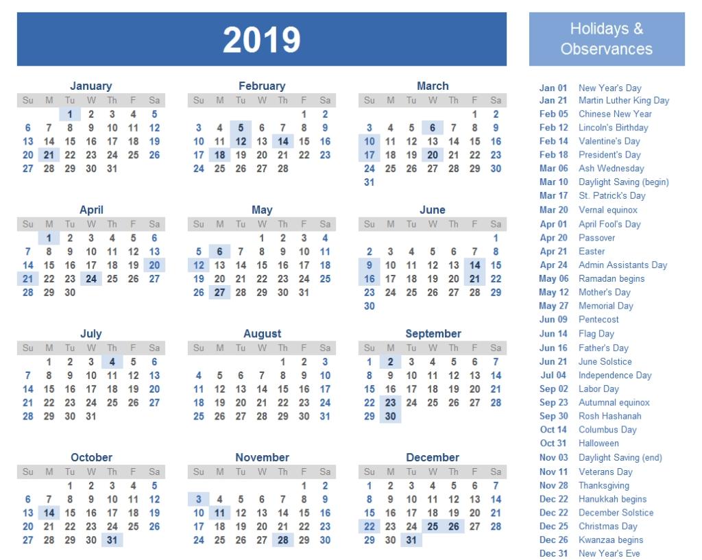 2019 International Holiday Calendar List   2019 Holiday Calendar pertaining to 12 Month Calendar Picture Ideas