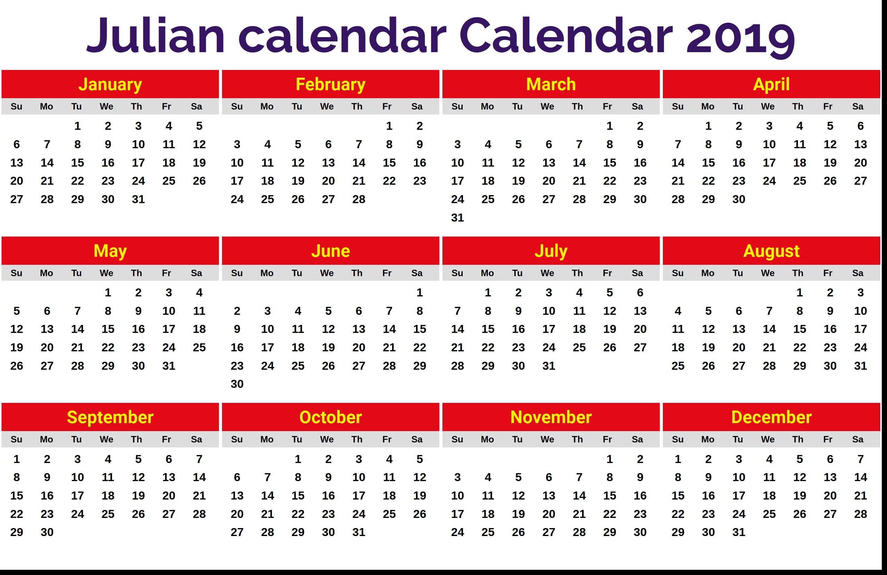 2019 Julian Date Calendar Printable Julian Calendar 2019 Calendar within Monthly Calendar With Julian Dates