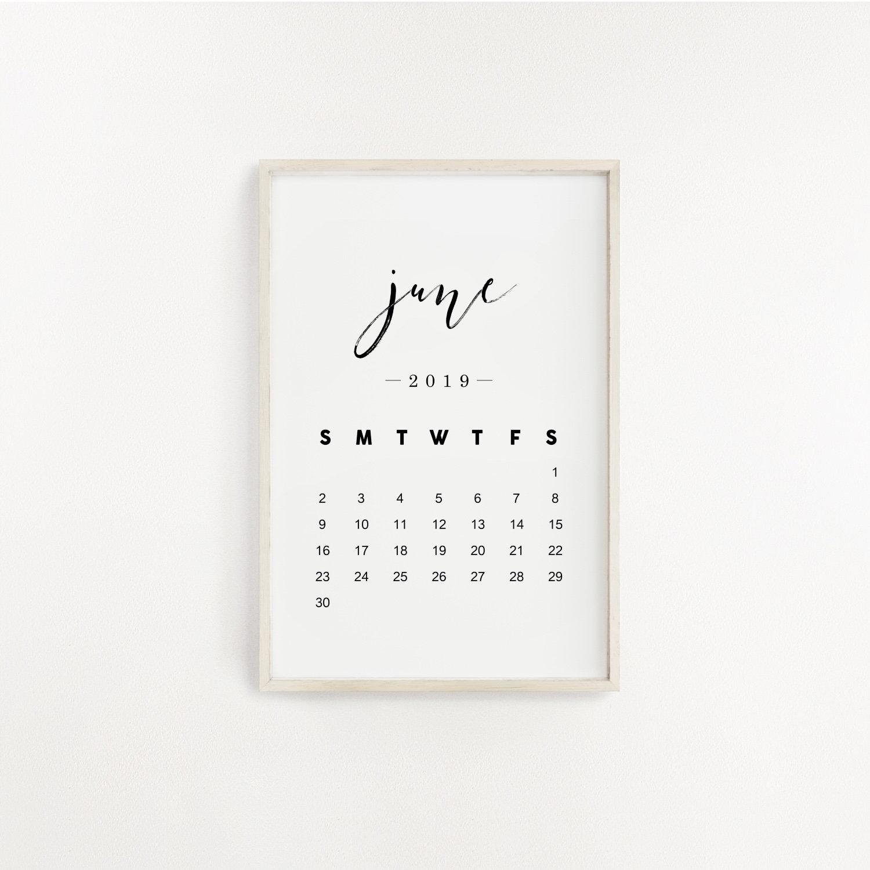 2019 June Calendar Print Pregnancy Announcement Printable | Etsy in 8 X 10 Print Calendar