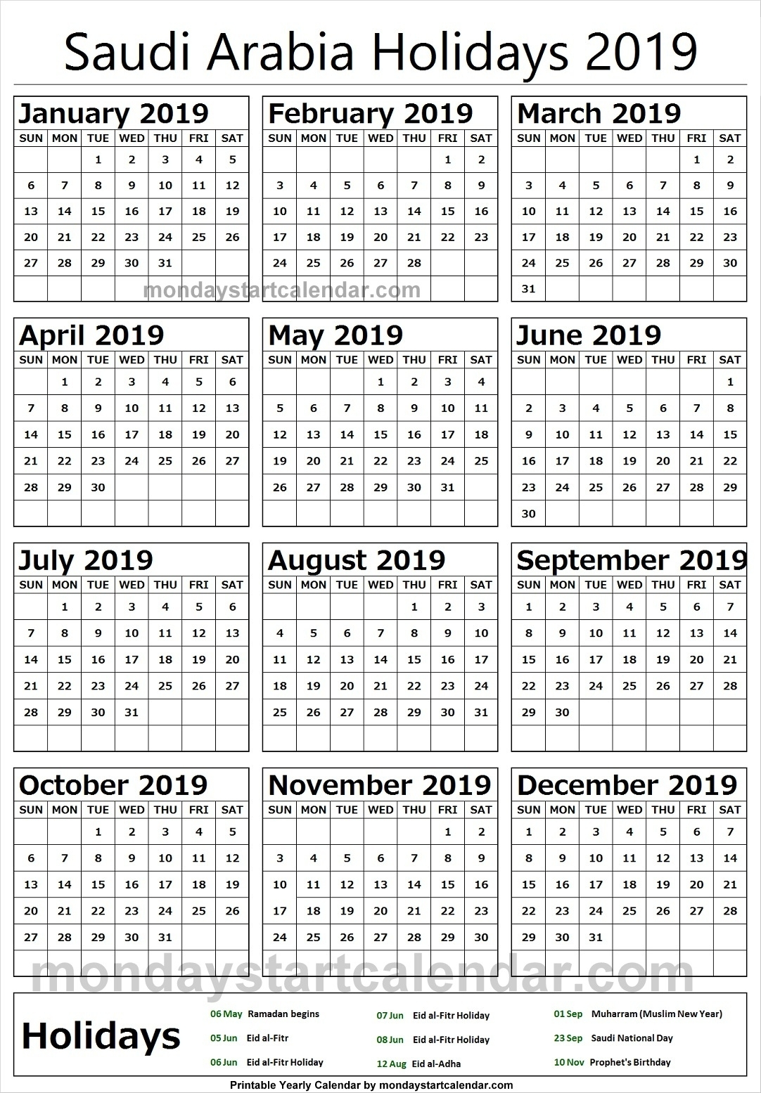 2019 National Holidays Saudi Arabia Calendar | 2019 Calendar with regard to Calendar Of Ramadan In Saudi Arabia