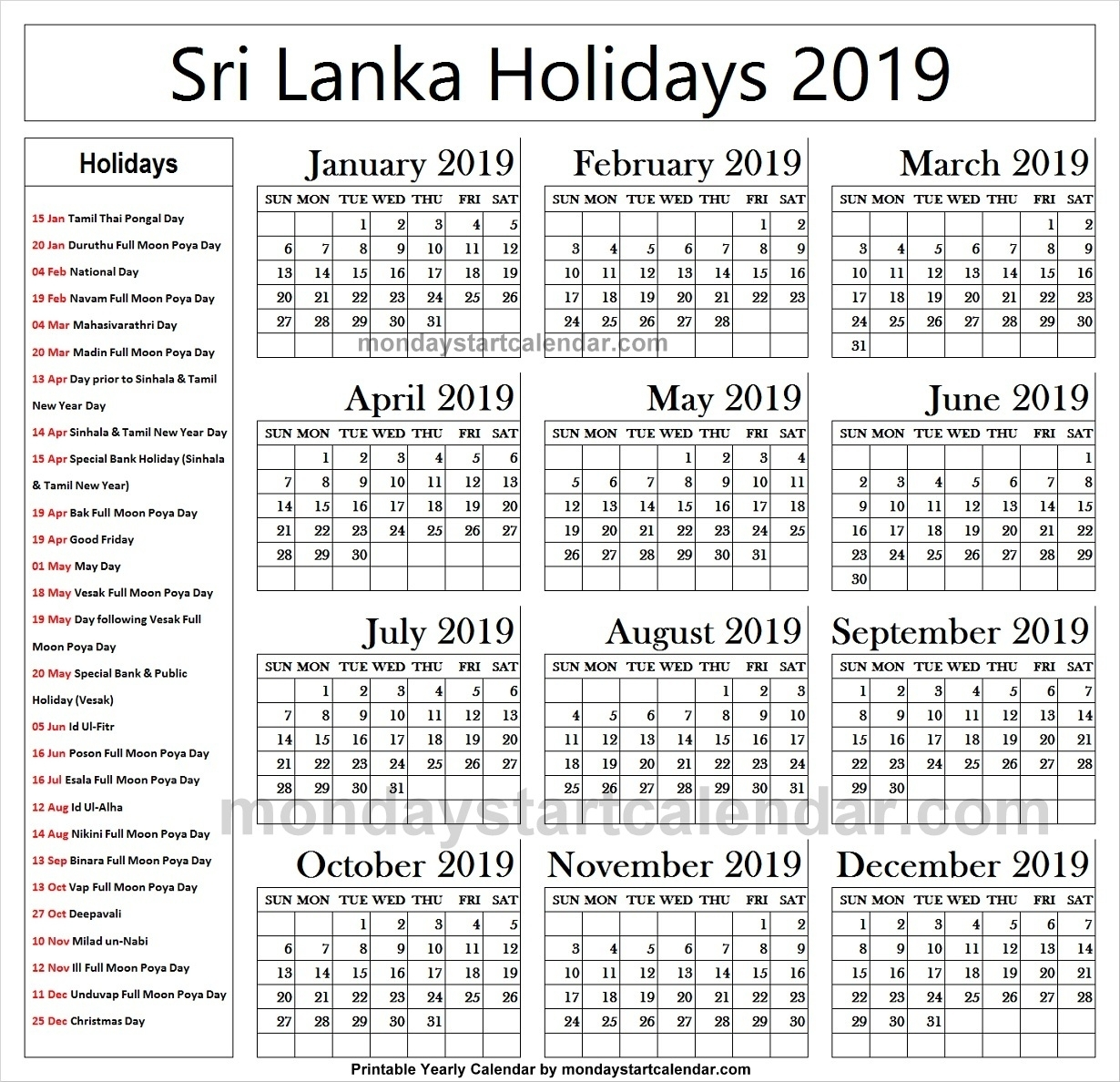 2019 National Holidays Sri Lanka Calendar | 2019 Sri Lanka Calendar inside List Ofhoidays In Sri Lanka