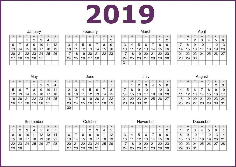 2019 One Page Calendar Printable   2019 Calendars   Calendar 2019 for 12 Month Calendar One Page
