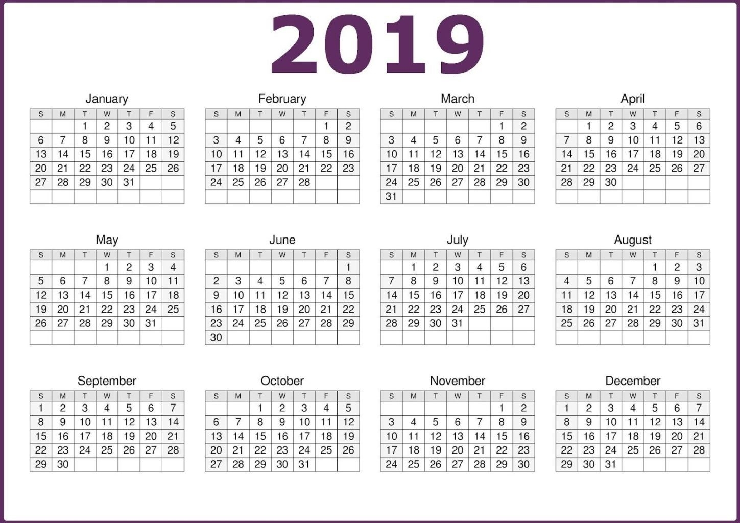 2019 One Page Calendar Printable | 2019 Calendars | Calendar 2019 intended for 12 Month One Page Calendar