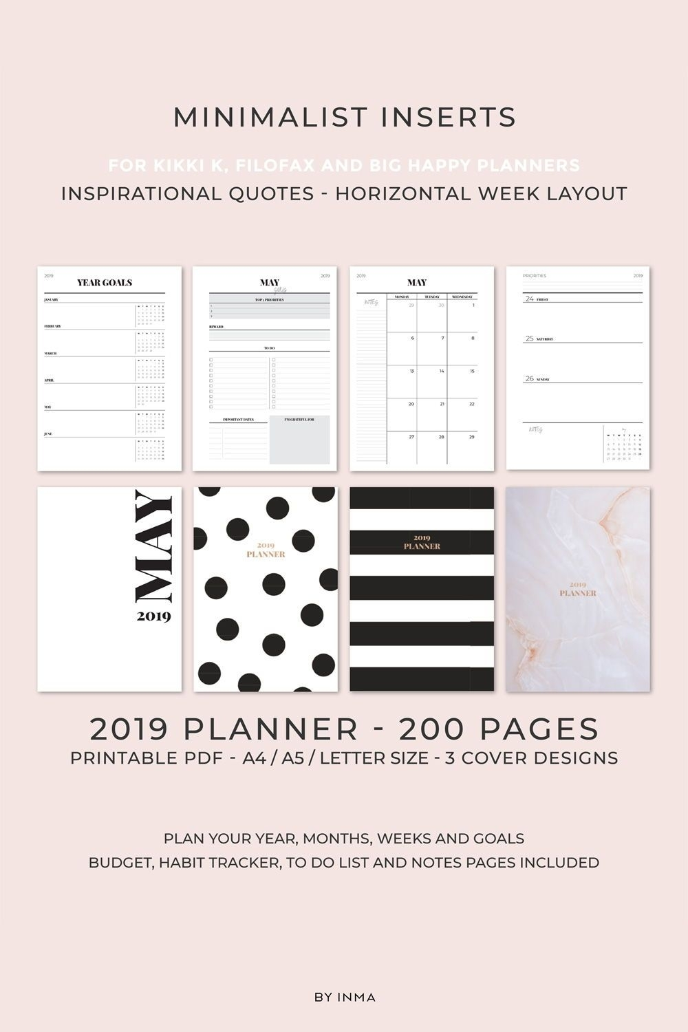 2019 Planner Printable, Horizontal Layout Weekly Planner, Monthly with Marble Themed Blank Class Schedule Template