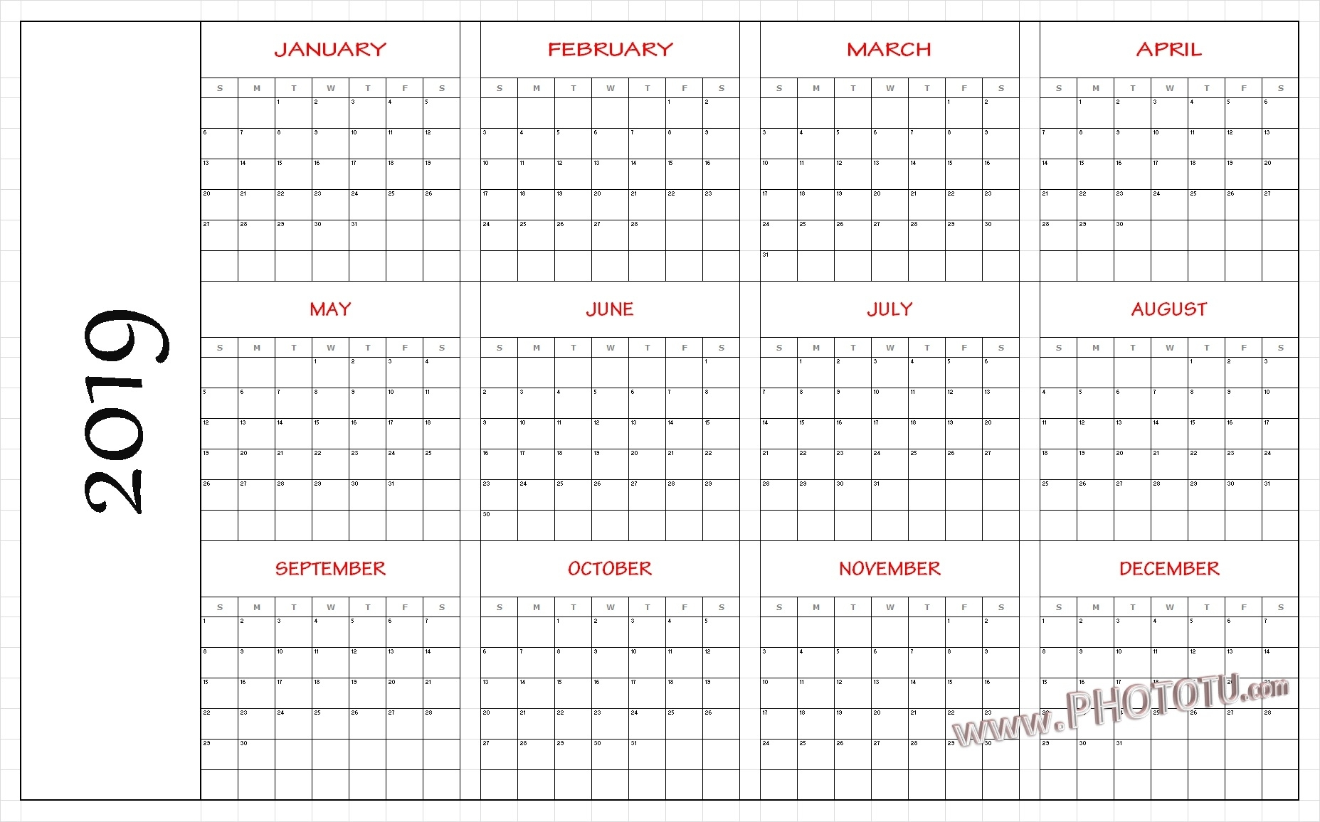2019 Printable 12 Month One Page Calendar Template Pdf Word Notes inside Blank 12 Month Calendar Page
