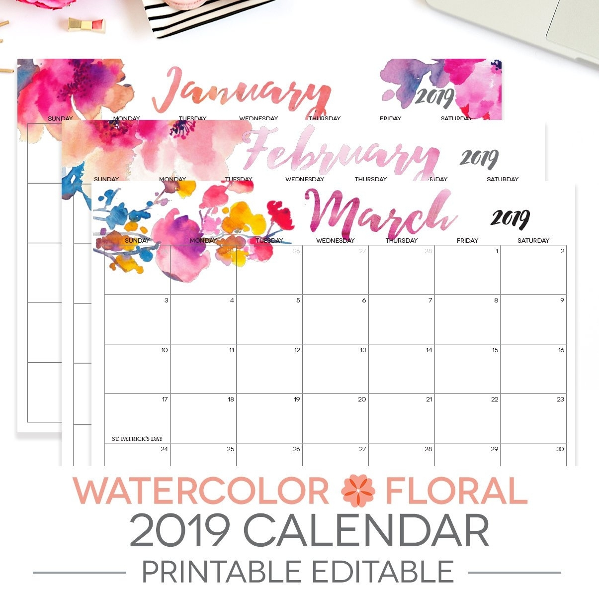 2019 Printable Calendar Editable 12 Month Letter Size | Etsy within 12 Months Printable Calendar Whole