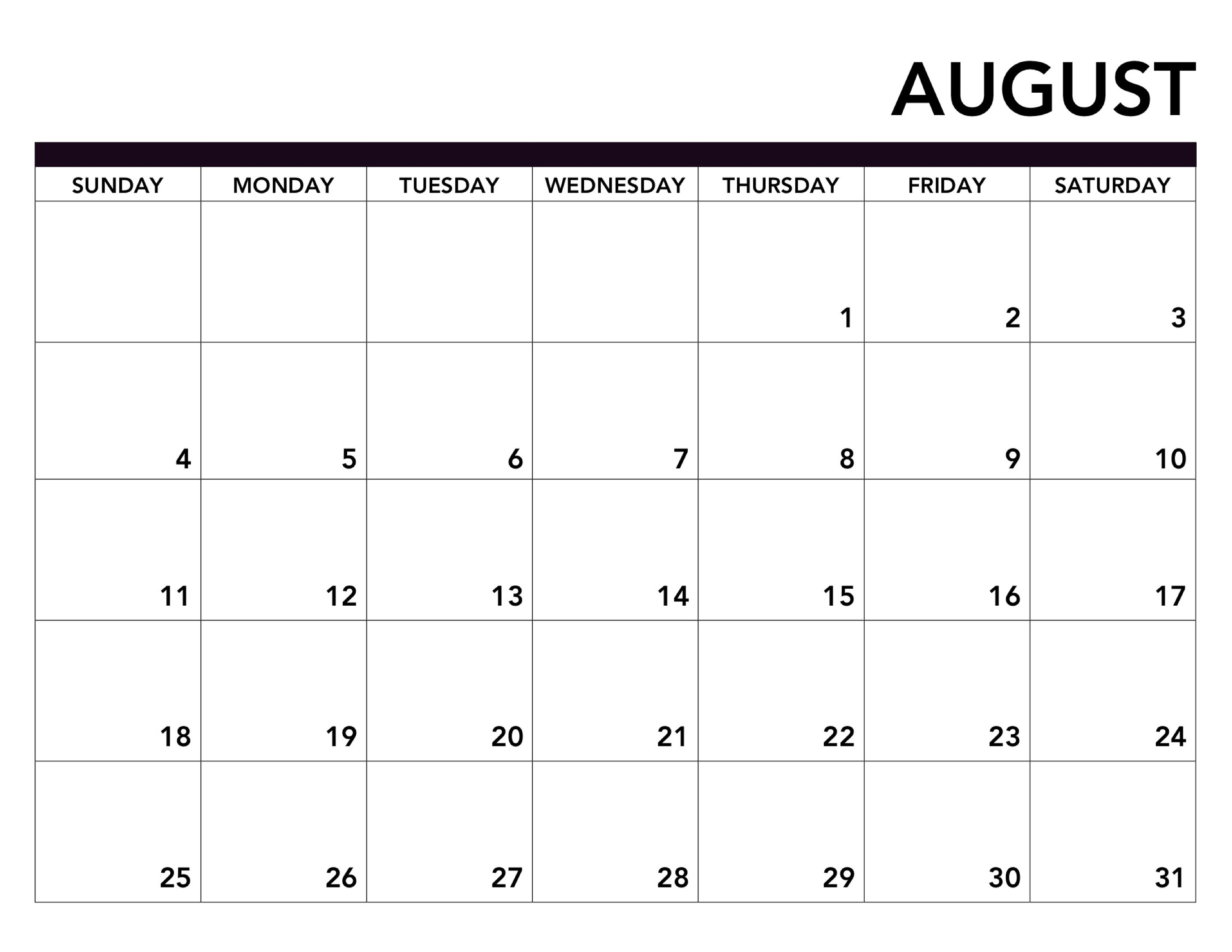 2019 Printable Calendar Free Pages - Paper Trail Design in Numbers Free Printable Calendar For August