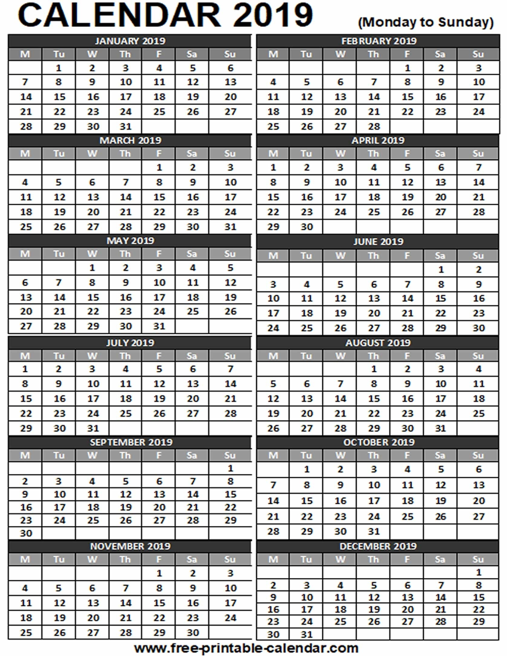 2019 Printable Calendar - Free-Printable-Calendar with 12 Month Calendar On One Page
