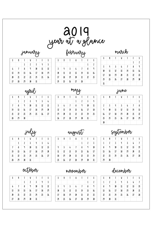 2019 Printable Calendar inside Year At A Glance Printable Calendars