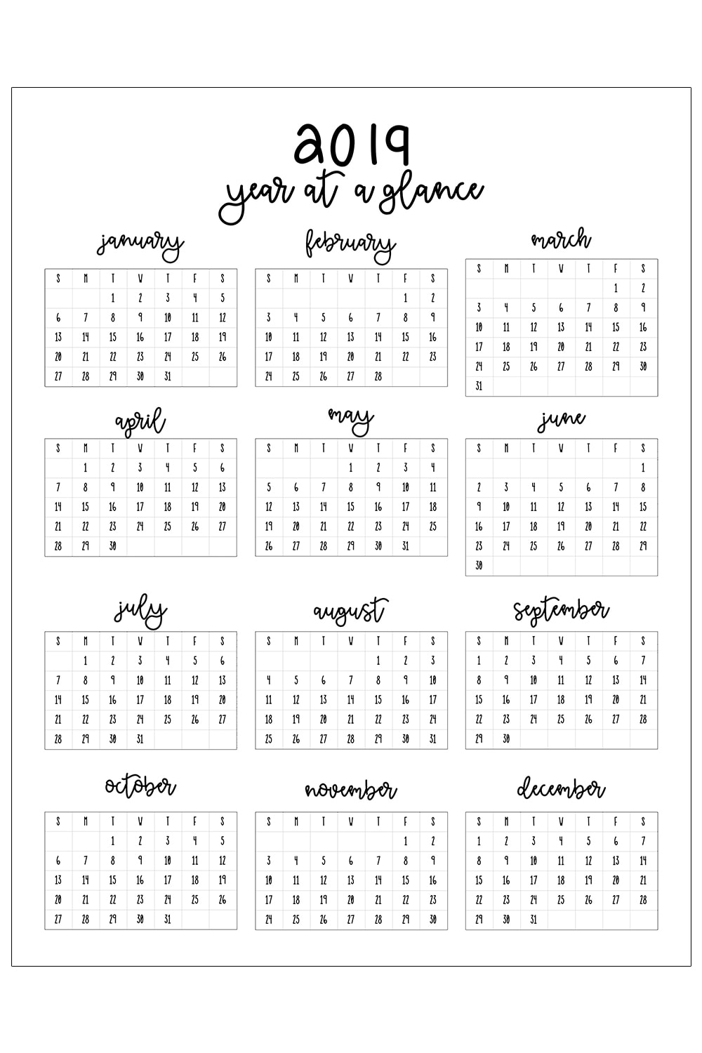 2019 Printable Calendar intended for Free Printable Calendar Year At A Glance Calendar