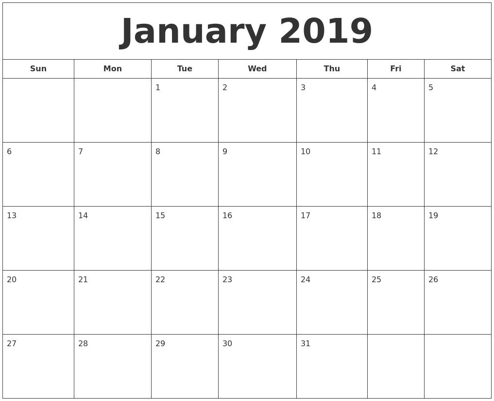 2019 Printable Calendar January To December | Template Calendar in Images Of A Calendar January Through December