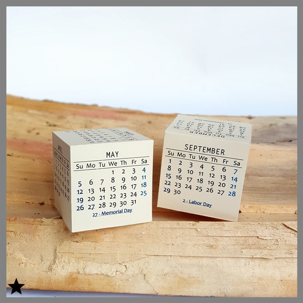 2019 Printable Calendar Modern Box Desk Calendar 3D | Etsy throughout Large Printable Calendar Sept 2-17
