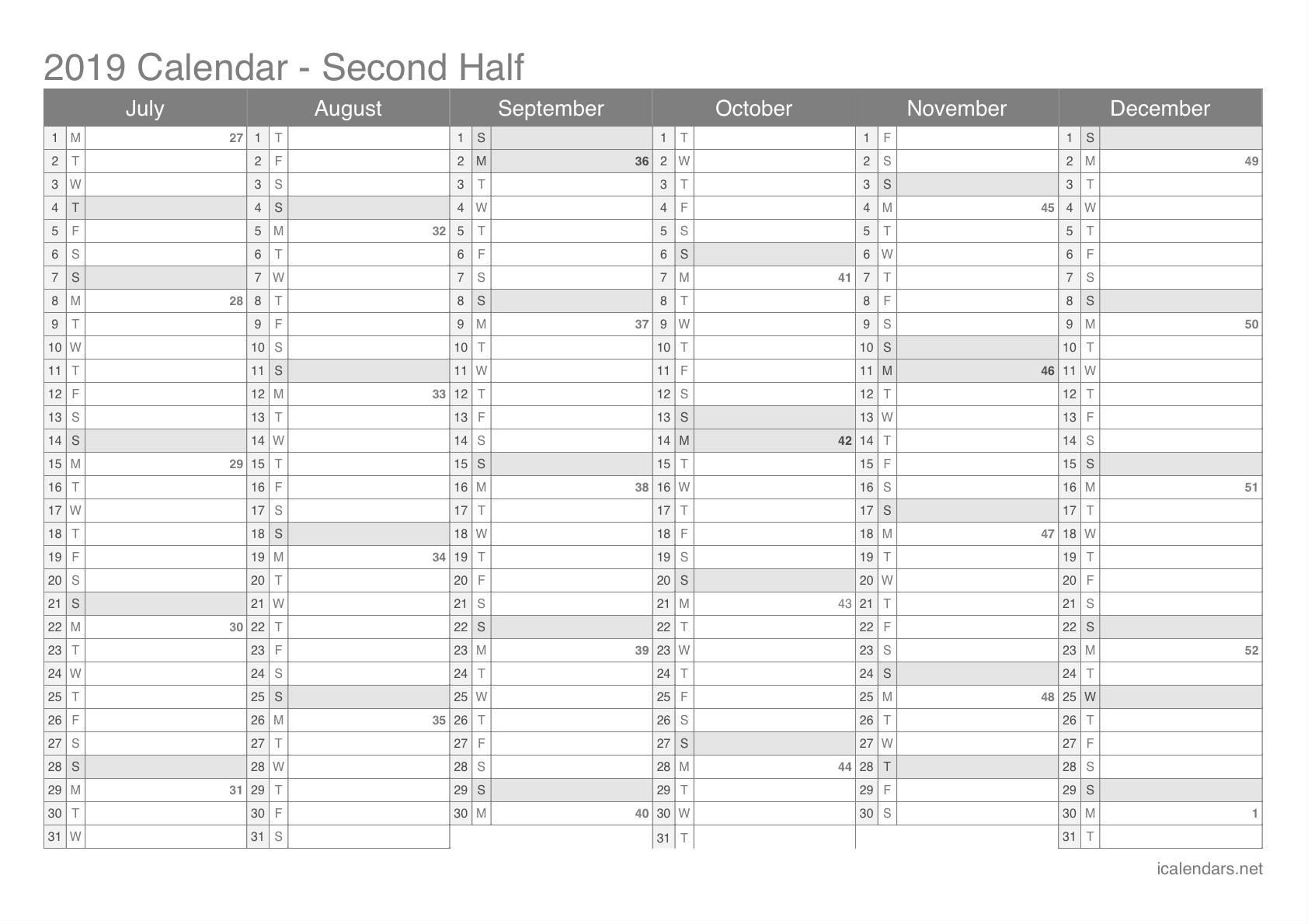 2019 Printable Calendar - Pdf Or Excel - Icalendars regarding Week Of The Year Number Calendar