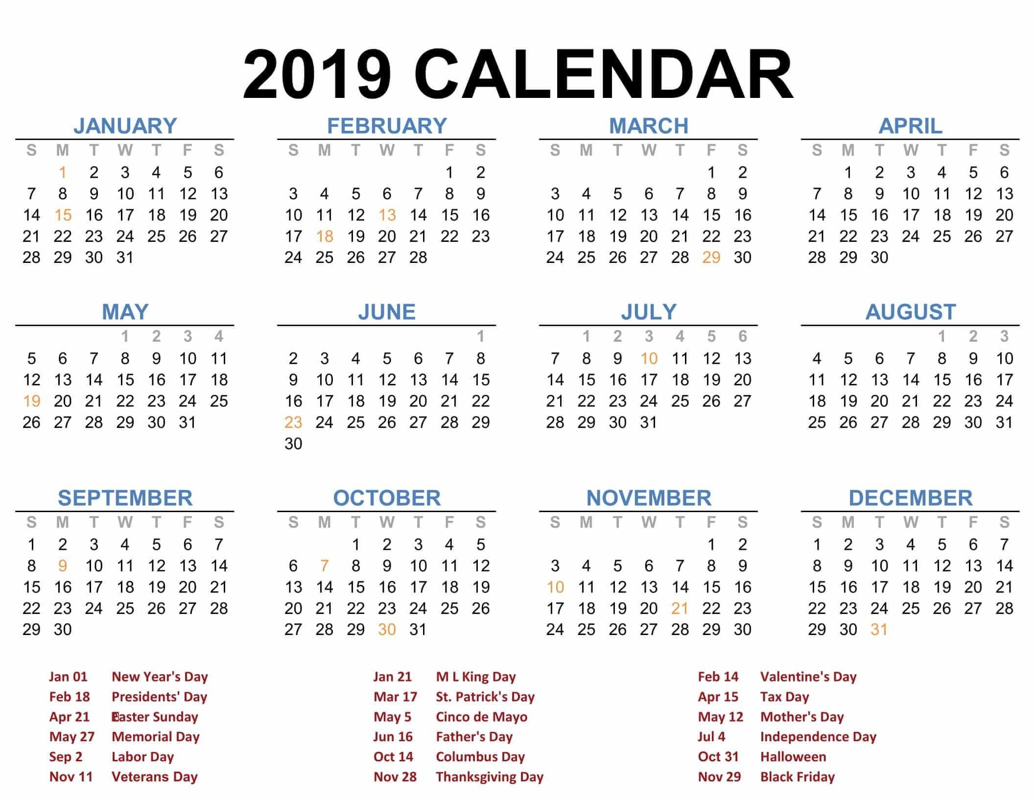 2019 Printable Calendar Templates - Pdf Excel Word - Free Calendars with Blank Calendar Page Year Long