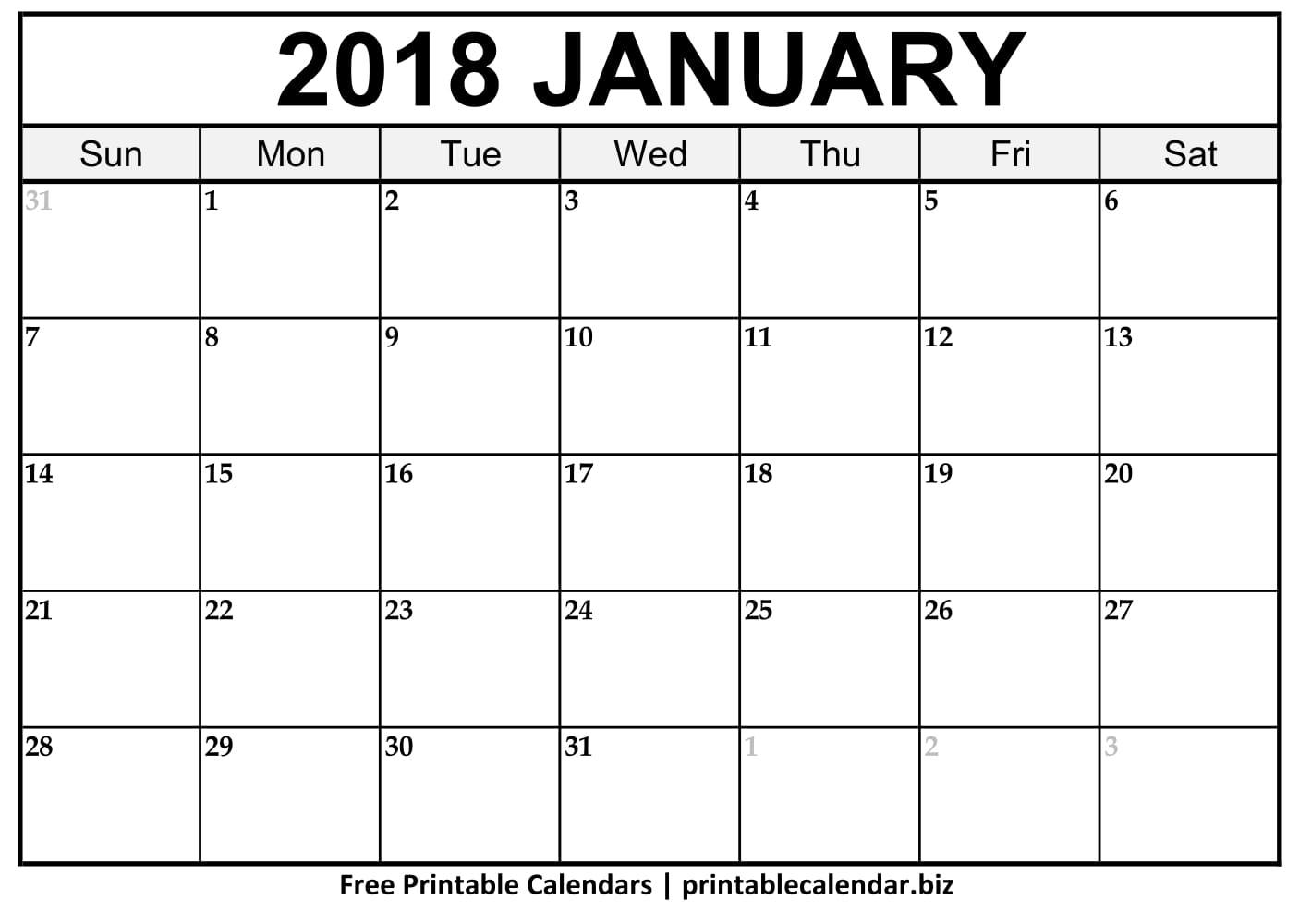 2019 Printable Calendar Templates - Printablecalendar.biz for Picture Of A January Calender