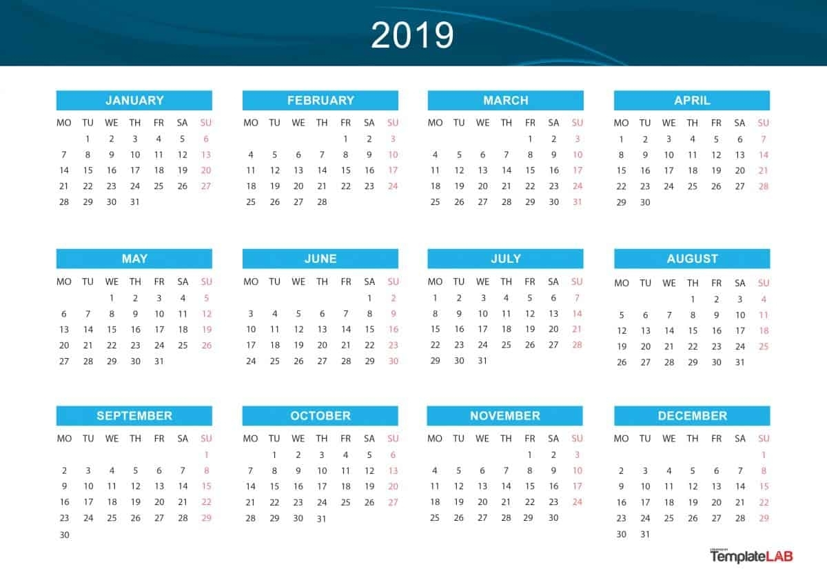 2019 Printable Calendars [Monthly, With Holidays, Yearly] ᐅ in Year At A Glance Calendar Simple Design
