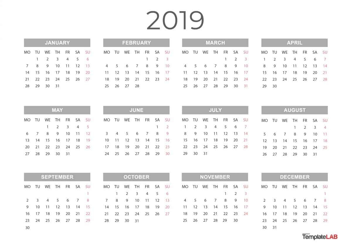 2019 Printable Calendars [Monthly, With Holidays, Yearly] ᐅ inside Free Printable Calendar Year At A Glance Calendar