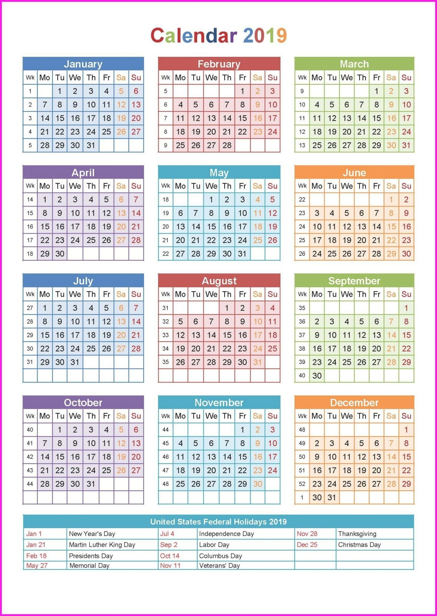 2019 Printable Yearly Calendar #2019Calendar #holidayscalendar regarding 12 Month Calendar On One Page Template