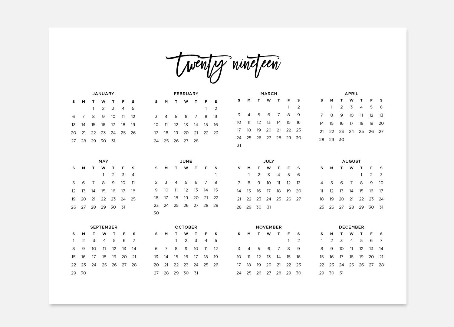 2019 Simple Calendar 2019 Landscape Calendar 2019 Calendar | Etsy throughout Year In A Glance Calendar