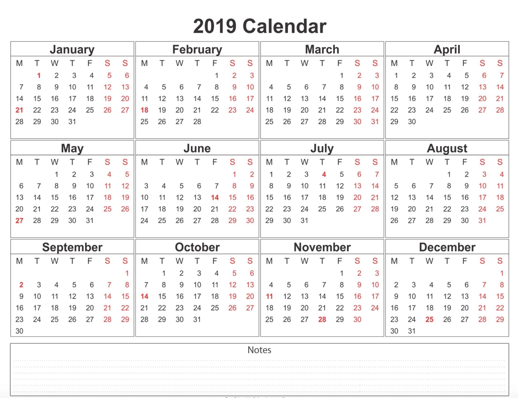 2019 Weekly Calendar Printable | 2019 Calendars | 12 Month Calendar with Blank 12 Month Calendar Printable