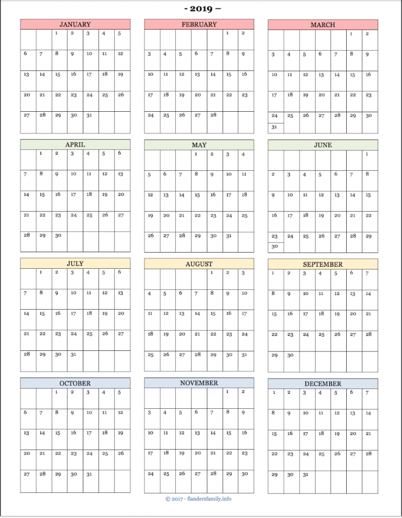 2019 Year-At-A- Glance Calendars And Habit Trackers - Flanders with regard to Year Calendar At A Glance