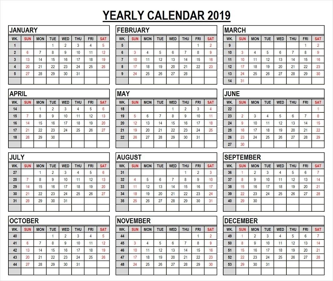 2019 Year Calendar In Weeks | Calendar 2019 With Week Numbers | 2019 for Number Of Weeks In A Year Calendar