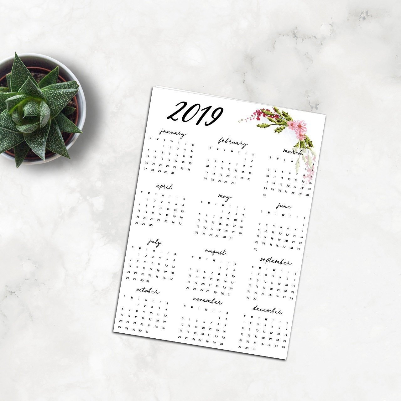 2019 Yearly Calendar 2019 Full Page Calendar Printable 2019 | Etsy with regard to 8 X 10 Print Calendar