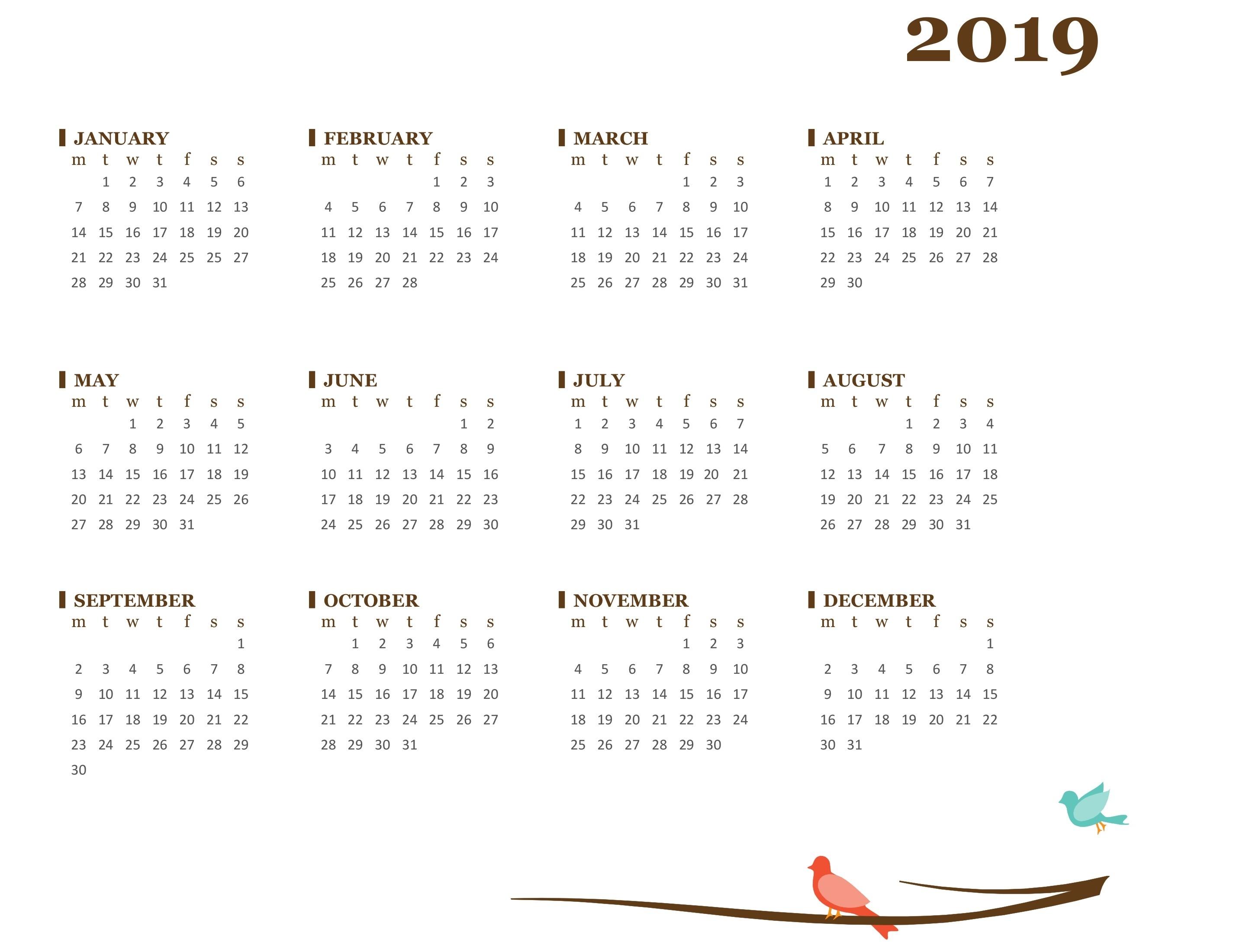 2019 Yearly Calendar (Mon-Sun) regarding Frame Birthday Calendar Templates Free