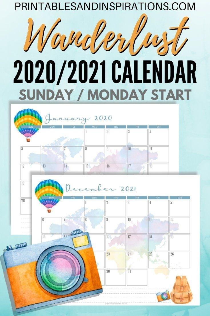 2020 Calendar / 2021 Calendar - Wanderlust! (Travel-Themed Printable in Monthly Calendar - Vacation Themed