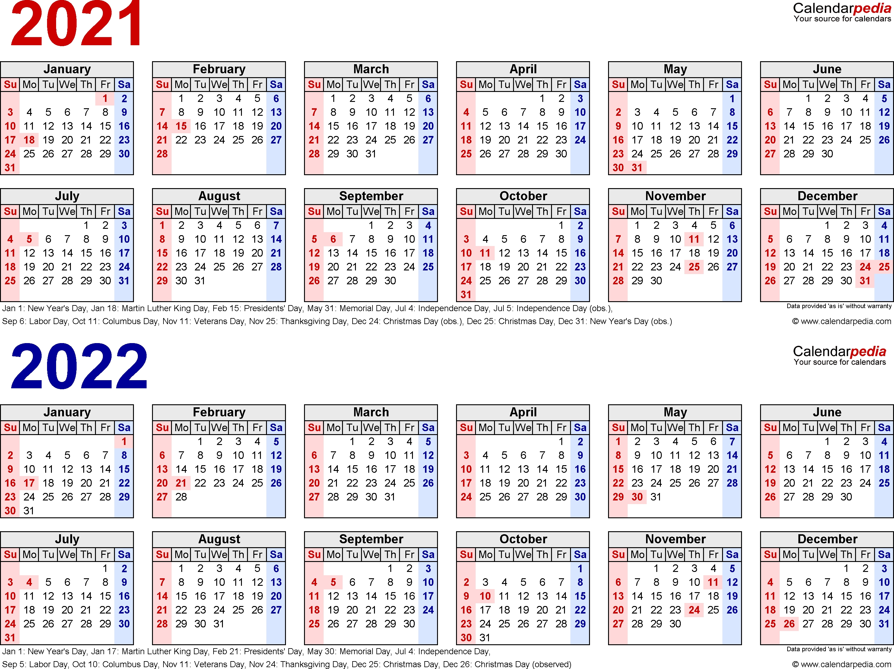 2021-2022 Calendar - Free Printable Two-Year Word Calendars for Calendar With All The Years