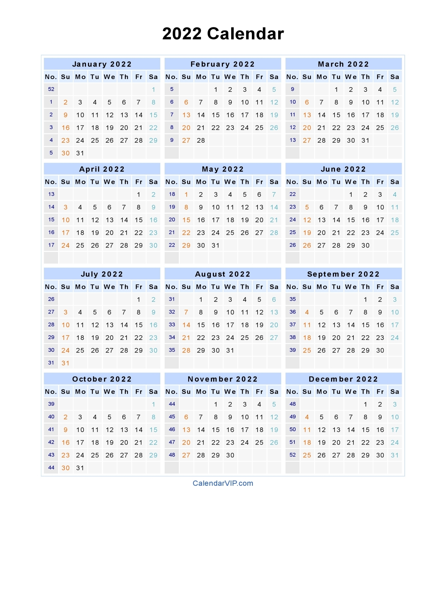2022 Calendar - Blank Printable Calendar Template In Pdf Word Excel for Blank Year Long Calendar 2022