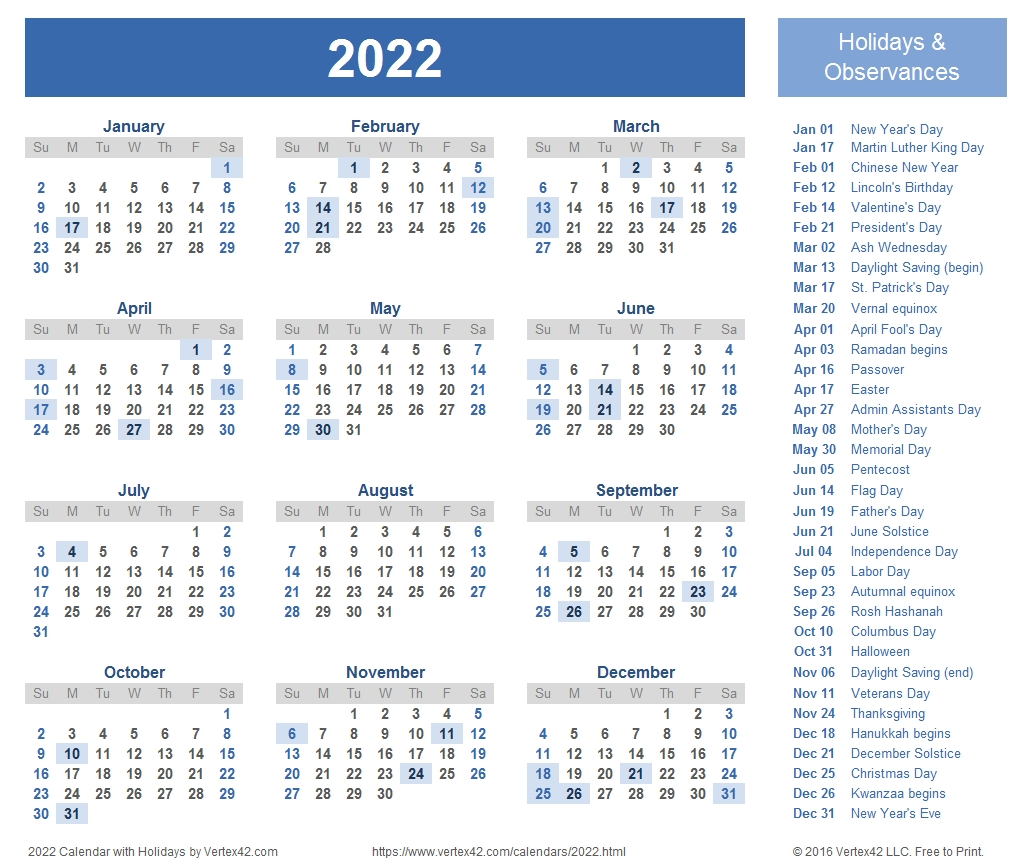 2022 Calendar Templates And Images pertaining to 2007 Calendar With Holidays Printable