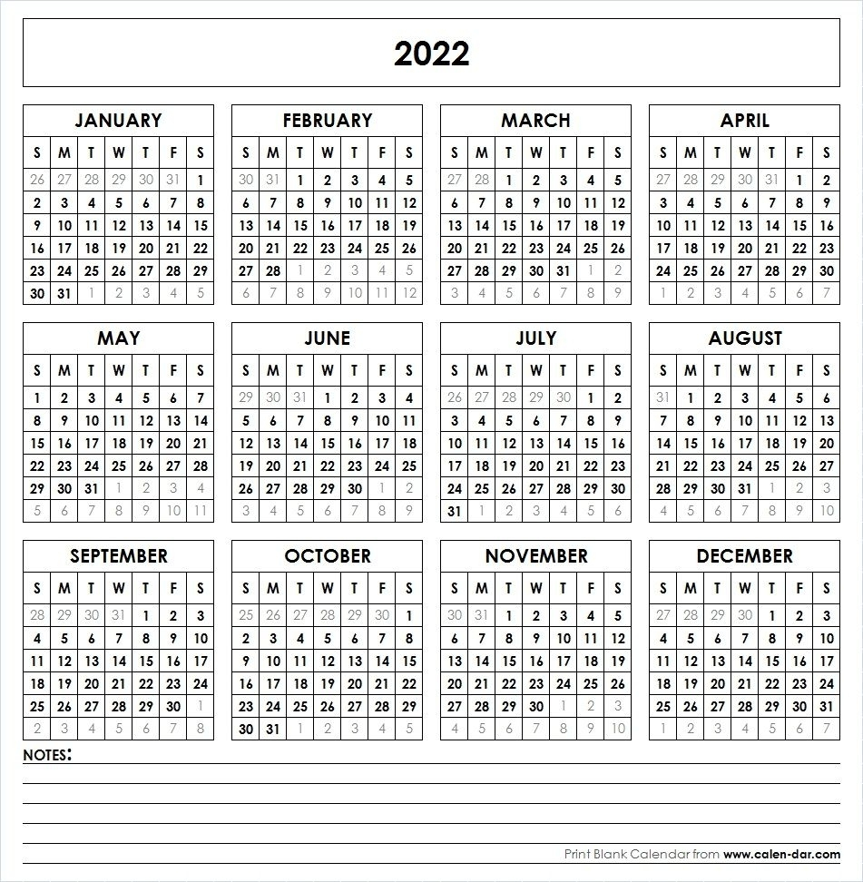 2022 Printable Calendar | Yearly Calendar | 2018 Printable Calendar within Blank Year Long Calendar 2022