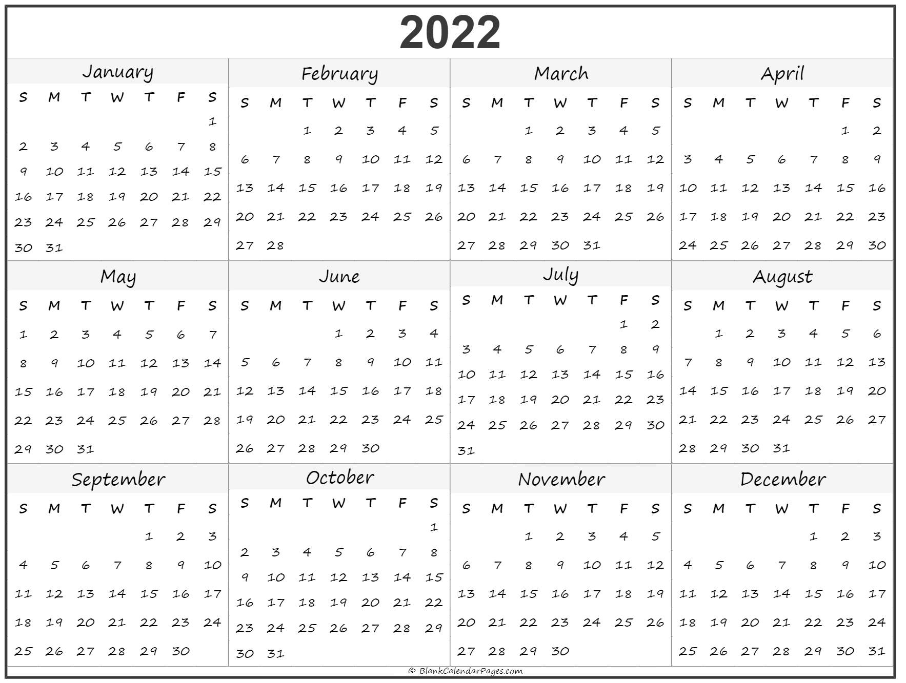 2022 Year Calendar | Yearly Printable for Blank Year Long Calendar 2022