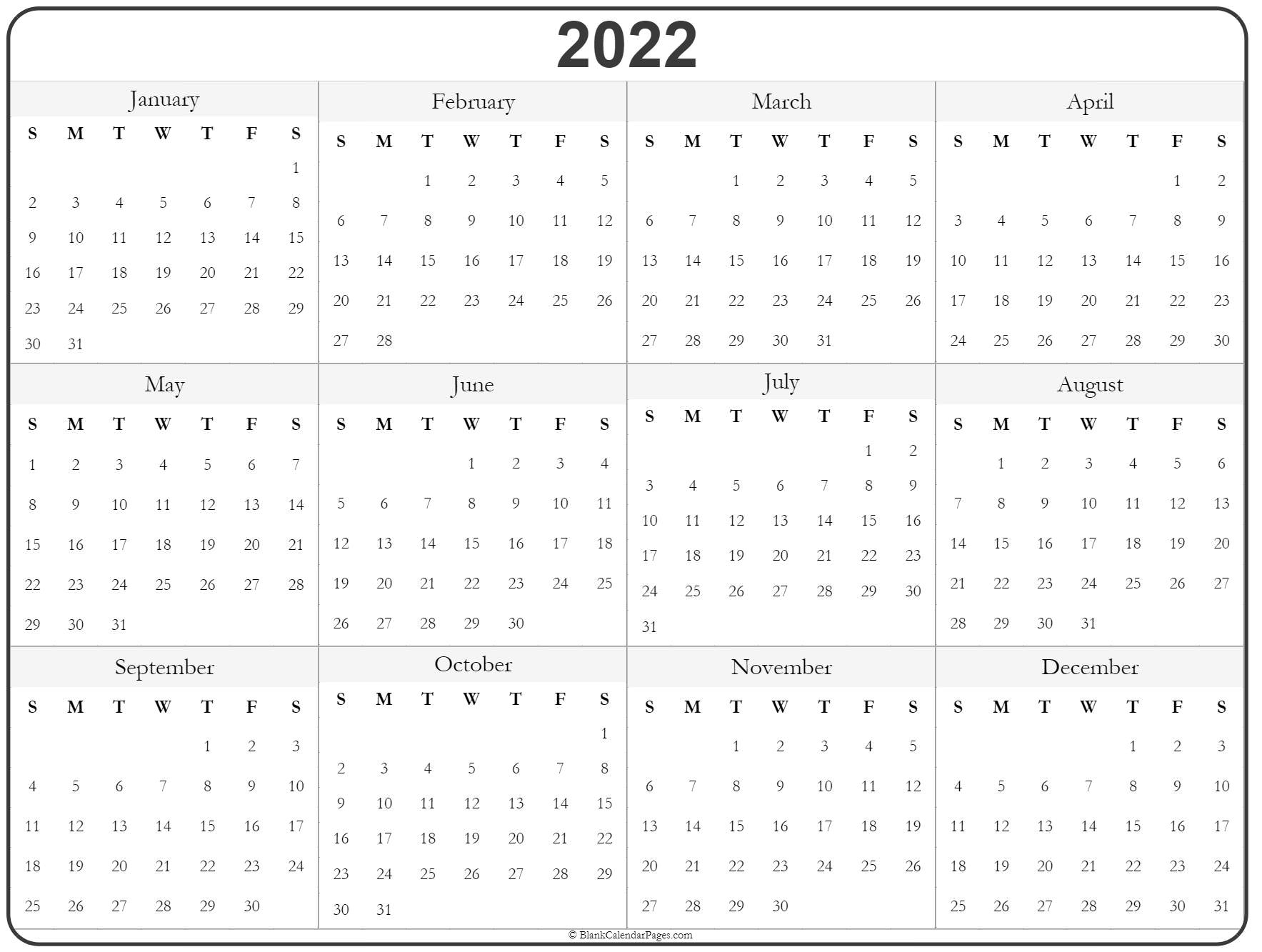2022 Year Calendar | Yearly Printable pertaining to Blank Year Long Calendar 2022