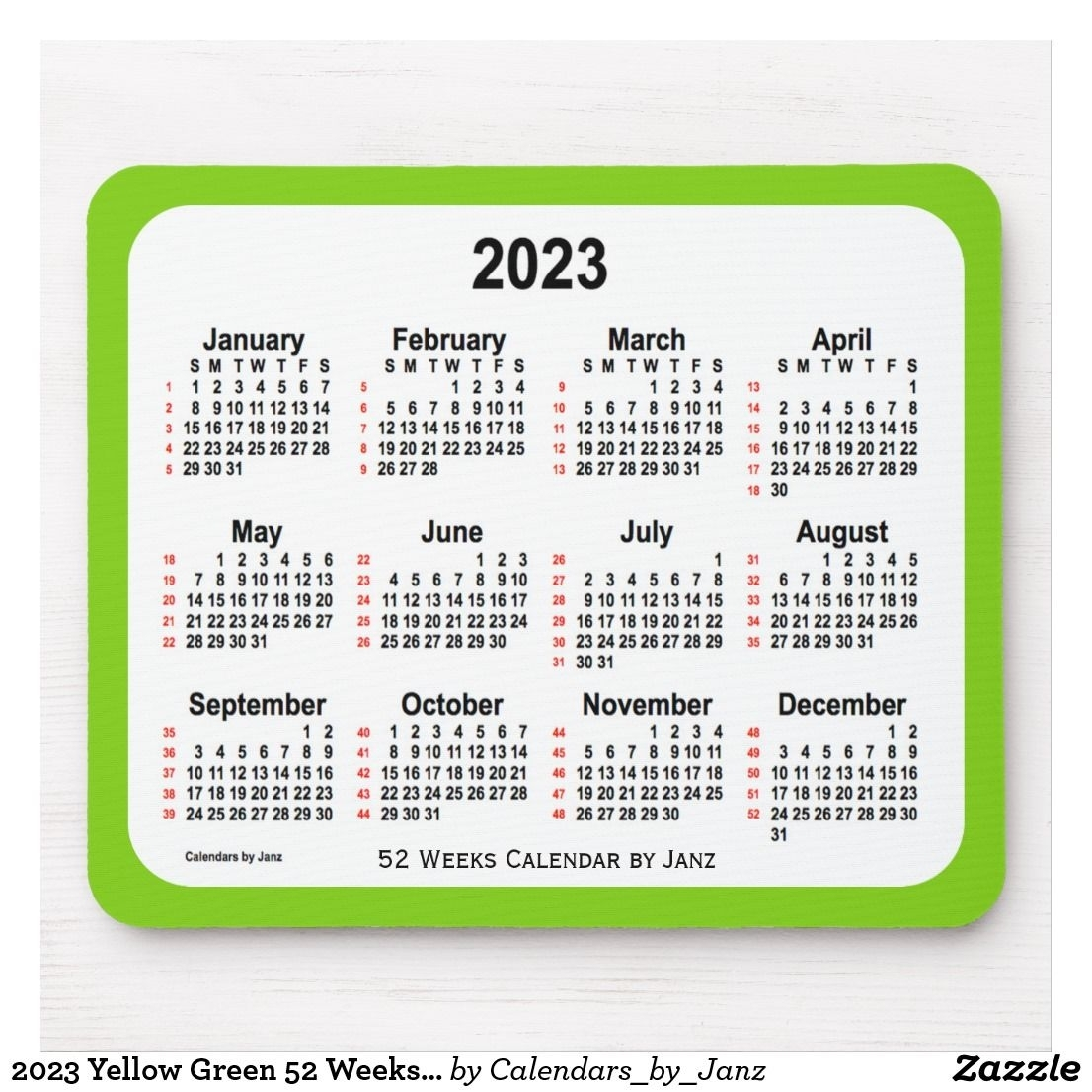 2023 Yellow Green 52 Weeks Calendarjanz Mouse Pad | Zazzle with 2023 Calendar Printable One Page E Printable